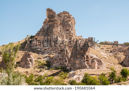 Ancient dwellings and Fairy chimneys in Cappadocia, Turkey
