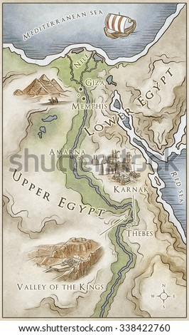 Ancient Egypt Stock Images RoyaltyFree Images Vectors - Map of egypt landmarks