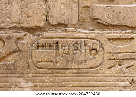 Ancient egypt hieroglyphs carved on the stone in the Karnak Temple, Luxor - stock photo