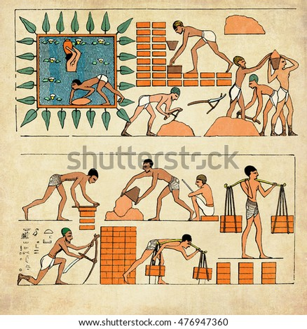 Ancient Egypt war prisoners making bricks and building walls.Stylized design with grunge and vintage texture added