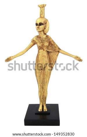 Ancient Egyptian female statue replica isolated on white - stock photo