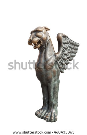Ancient Egyptian griffin on Universitetskaya embankment of Neva river in St. Petersburg, Russia, isolated on white