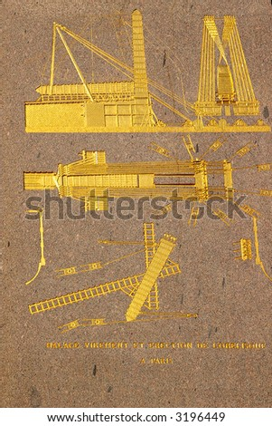 Ancient Egyptian obelisk of Luxor - details explaining delivery of monument from Egypt - stock photo