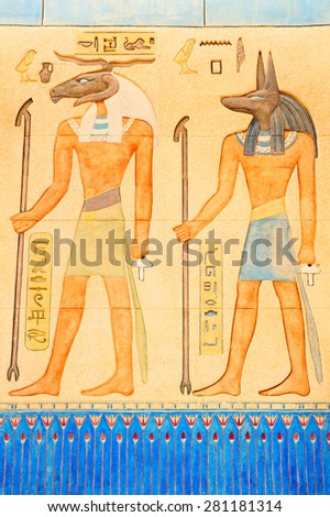Ancient Egyptian writing on stone in Egypt - stock photo