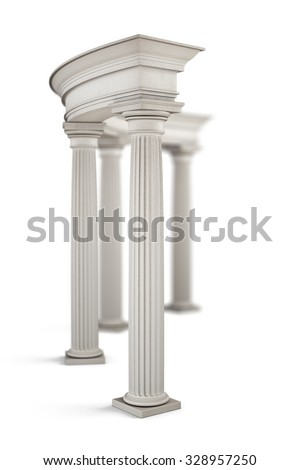 Ancient entrance with columns close-up. 3d illustration.