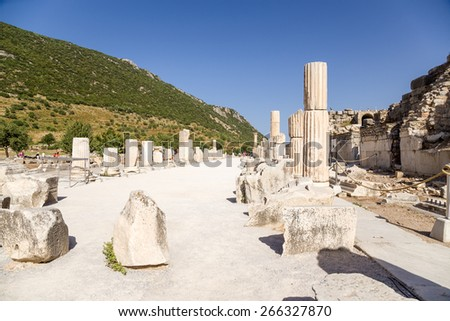 Ancient Ephesus, Turkey. The ruins of the ancient Basilica and the Odeon (Roman period). (UNESCO tentative list) - stock photo