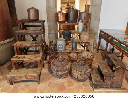 Ancient equipment for the production of perfume in Fragonard factory in Grasse, France - stock photo