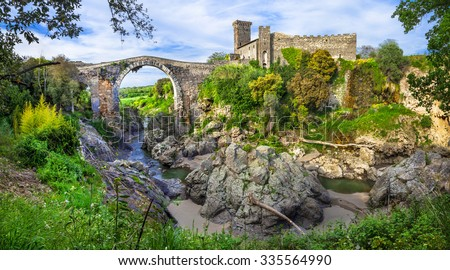 ancient Etruscan city' ruins in Vulci -Italy, Viterbo province - stock photo