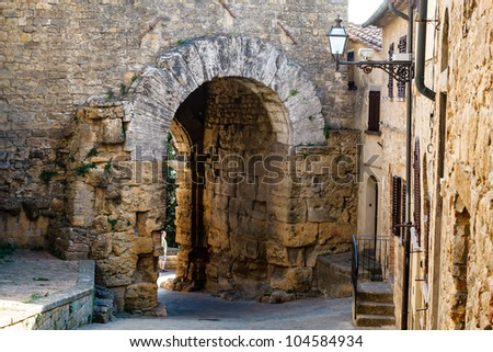 Ancient Etruscan Gate of Volterra in Italy - stock photo