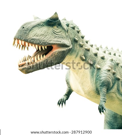 ancient extinct dinosaur on a Isolated white background - stock photo