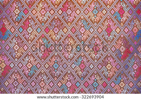 Ancient fabric colorful thai silk handcraft Designer designer textiles peruvian stripe beautiful background detail pattern fashionable farabic fashoin background farabic textures - stock photo