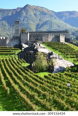 Ancient fortifications in Bellinzona, Switzerland - stock photo