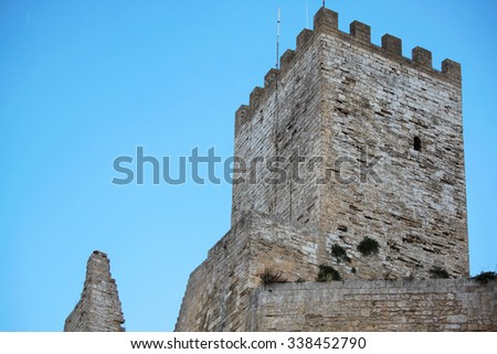 ancient fortress medieval castle in Sicily - stock photo