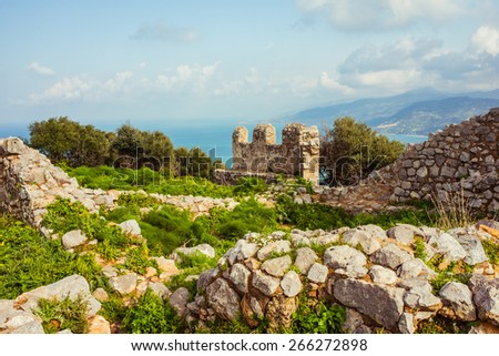 Ancient fortress on mountain in Cefalu city on Sicily island, Italy - stock photo
