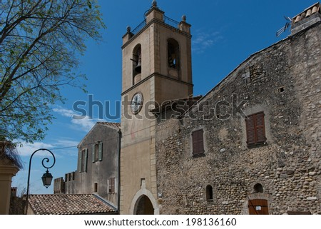 Ancient gate and tower in Haut de Cagnes, Cote d'Azur, France - stock photo