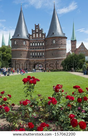 Ancient gate in the center of the hanseatic city of Lubeck, in Germany, Unesco world heritage. - stock photo