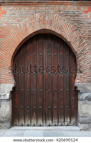 ancient gates in Madrid - stock photo