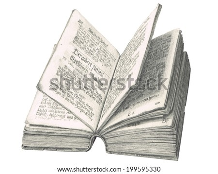 ancient german catechism drawn with pencil - stock photo