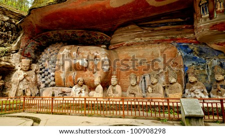 Ancient Giant Stone Cliff Carving of Buddha in Parinirvana - Dazu, China