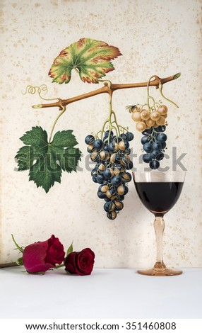 Ancient glass of  red wine background grape cluster decorated, romantic moment with  rose red , natural light, vertical photo - stock photo
