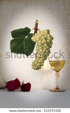 ancient glass of white wine background grape cluster decorated, romantic moment with flowers rose ,photo with vignetting, natural light, vertical photo - stock photo