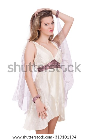 Ancient goddess in white isolated on white - stock photo