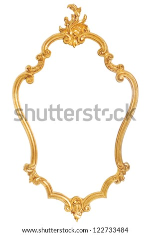 Ancient golden frame with ornaments over a white background - stock photo