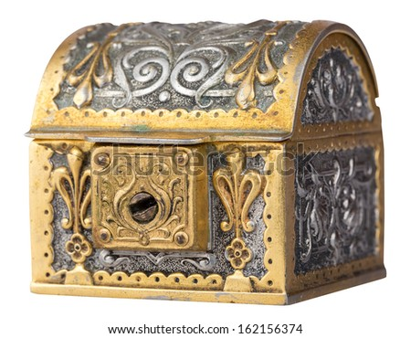 Ancient golden treasure chest isolated on a white background with clipping path - stock photo