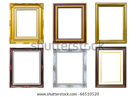 ancient golden wood photo image frame isolated on white background - stock photo