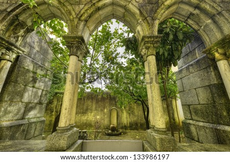 Ancient gothic arches in Evora, Portugal.