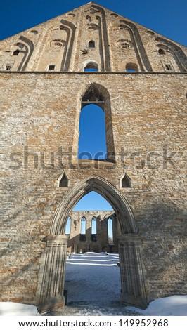 Ancient Gothic ruins of Pirita monastery in Tallinn, Estonia - stock photo