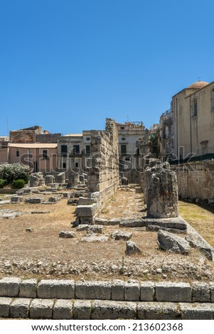 Ancient greek Apollo temple ruins in Siracuse, Sicily - stock photo