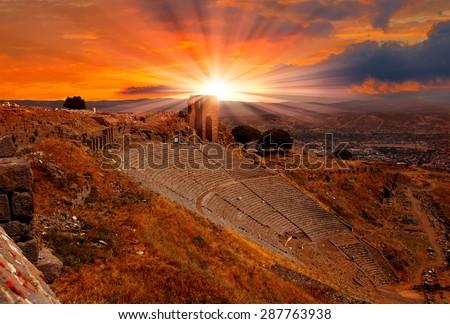 Ancient Greek City of Pergamon in Bergama, Anatolia, Turkey - stock photo