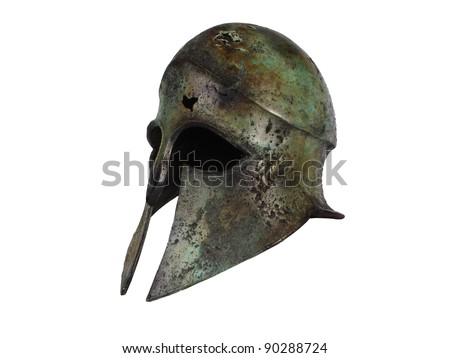 Ancient Greek Helmet three-quarter view - stock photo