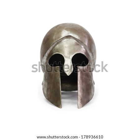 Ancient Greek military helmet on white background. Clipping path is included - stock photo