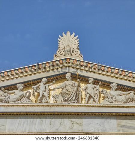 ancient Greek mythology gods and deities statues - stock photo
