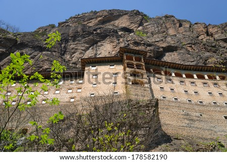 Ancient Greek Orthodox Sumela Monastery in Trabzon Turkey - stock photo