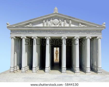 Ancient Greek Parthenon temple on the Acropolis - stock photo
