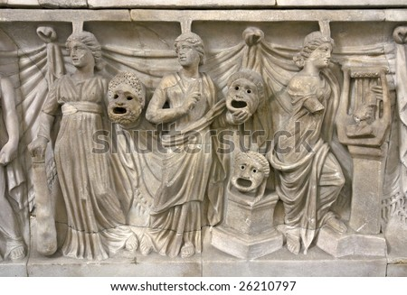 Ancient greek relief - stock photo