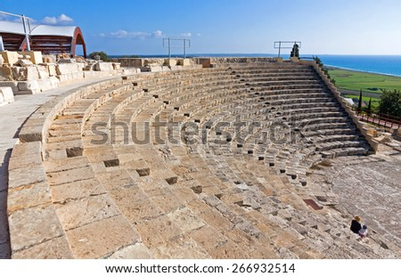 Ancient Greek-Roman theater in Kourion, Cyprus - stock photo