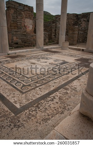 Ancient Greek ruins at the archaeological island of Delos, Cyclades, Greece