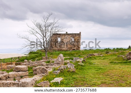 ancient greek ruins in Morgantina archaeological area, Sicily, Italy - stock photo