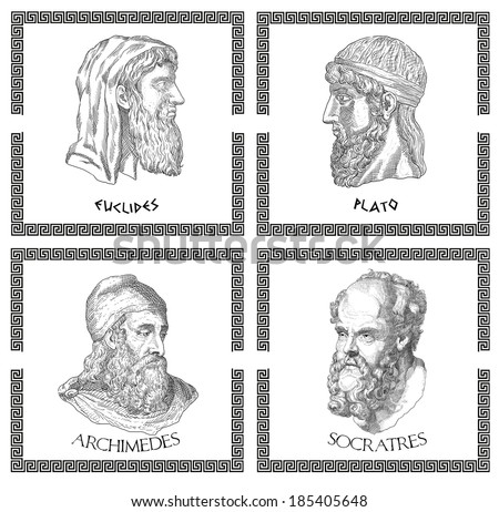 Ancient greek scientists, philosophers - stock photo
