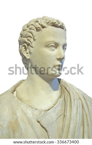 ancient greek sculpture carved from marble of a good looking man. Isolated on black - stock photo