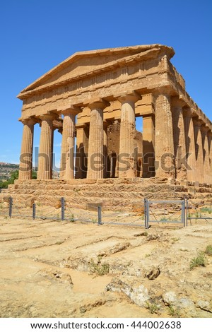 Ancient greek Temple of Concordia, Agrigento, valley of temples, Sicily, Italy - stock photo