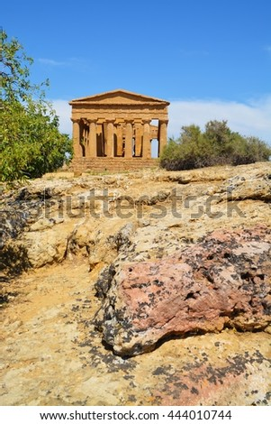 Ancient greek Temple of Concordia, Agrigento, valley of temples, Sicily, Italy