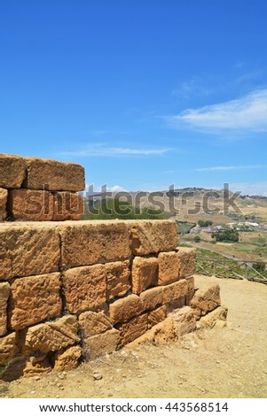 Ancient greek Temple of  Hera God, Agrigento, valley of temples, Sicily, Italy - stock photo