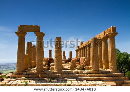 Ancient greek Temple of Juno, Agrigento, Sicily, Italy - stock photo