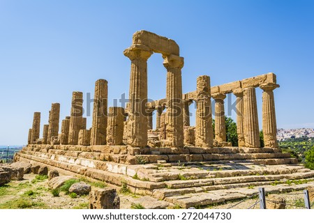 Ancient greek Temple of Juno Hera God, Agrigento, valley of temples, Sicily, Italy - stock photo