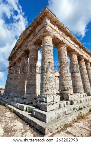 Ancient greek temple of Segesta, Sicily - stock photo